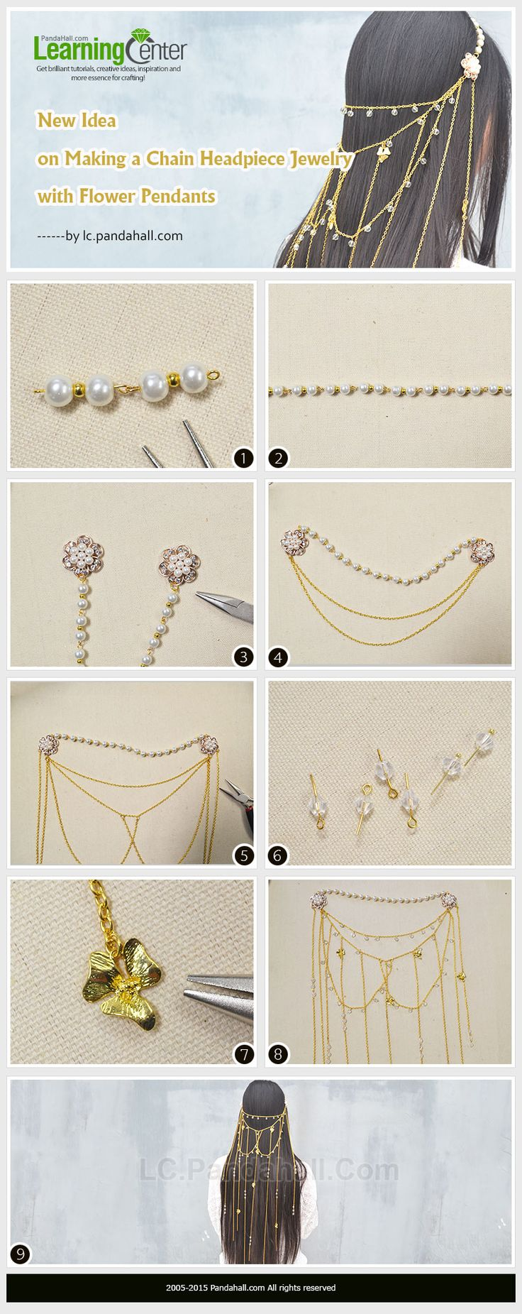 Here is a tutorial on how to make a chain headpiece jewelry with flower pendant for bride.