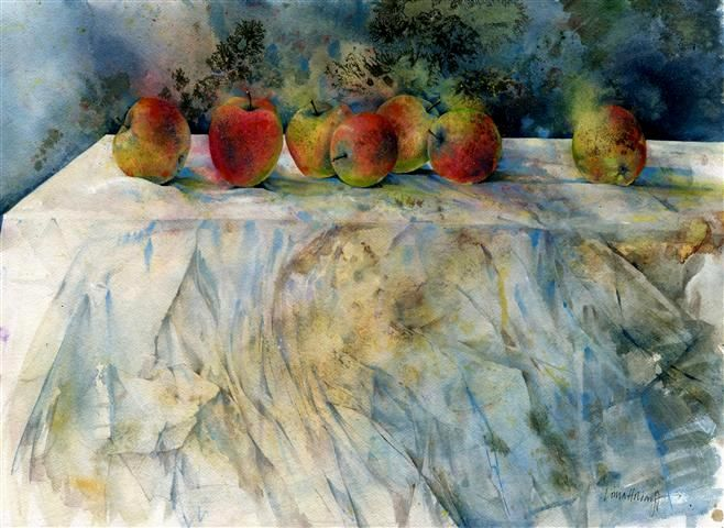 Apples - watercolour and ink