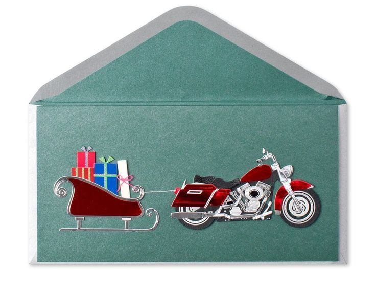 papyrus+cards | Motorcycle Pulling Sleigh - Papyrus card