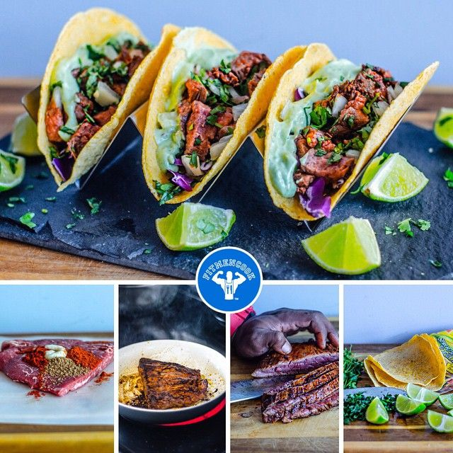 Happy #TacoTuesday! If you're like me, you can't pass a taco stand without craving a taco. But those tacos are often loaded with unnecessary saturated fats. Instead of giving up the food you love, make a healthier version! Here are my lean flank steak tacos with purple cabbage and avocado lime dressing on Food for Life corn tortillas. I posted about this dressing 2 weeks ago. Go to FitMenCook.com for the complete recipe and pictures. Easy to customize to meet your needs. Tag someone who…