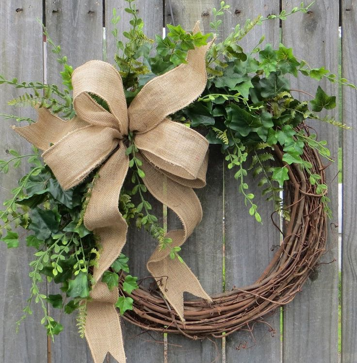 Greenery Wreath - Wreath Great for All Year Round - Everyday Burlap Wreath, Door Wreath, Front Door Wreath by HornsHandmade on Etsy https://www.etsy.com/listing/231958765/greenery-wreath-wreath-great-for-all
