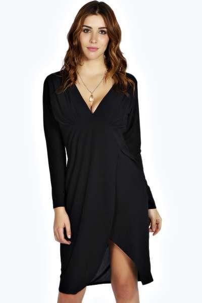 $35 // Paige Slinky Plunge Neck Midi Dress at boohoo.com