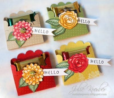 Great tutorial by Julie Koerber for these very sweet candy gift pockets!  Wouldn't they be great to put a person's name on each ( instead of 'Hello') and use them as place cards for a dinner table or tea party table, etc.???