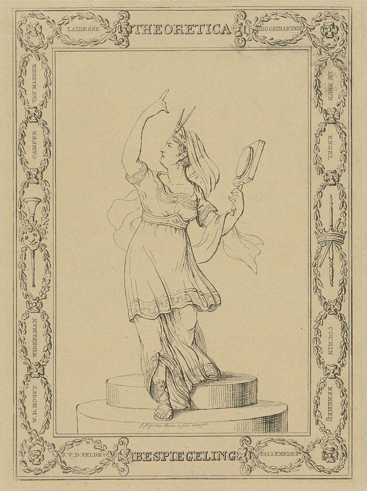 Johannes Jelgerhuis   Vrouwelijke personificatie van Theoretica / Bespiegeling, Johannes Jelgerhuis, 1785 - 1836   Vrouwelijke personificatie van Theoretica of Bespiegeling, in Griekse gewaad. Zij staat op een ronde verhoging en wijst met haar rechterhand omhoog. In haar linkerhand houdt ze een vergrootglas en op haar hoofd draagt ze een sluier, bekroond met een passer. In het kader om de voorstelling staan kunstenaarsnamen in kransen.