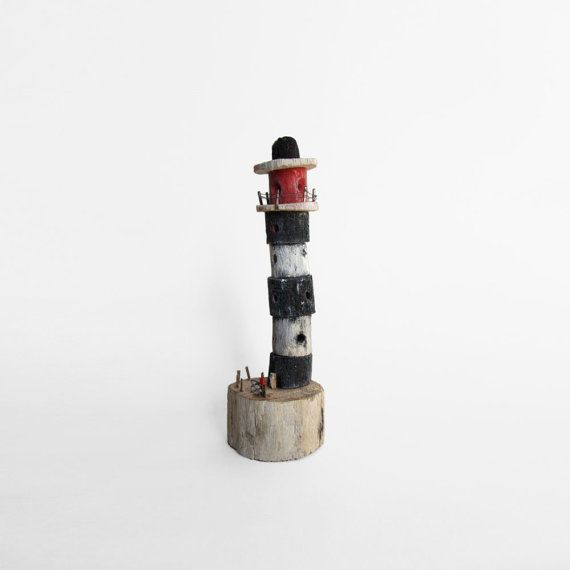 Lighthouse handmade from driftwood found on by TheBuilderOfThings