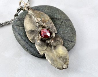 Beautifully Textured Feather Pendant with Silver Soldered Red Faceted Glass on Stainless Steel Chain