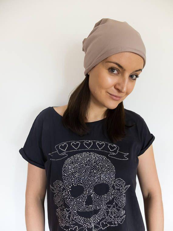 Summer slouchy beanie women lightweight hat coffee chemo
