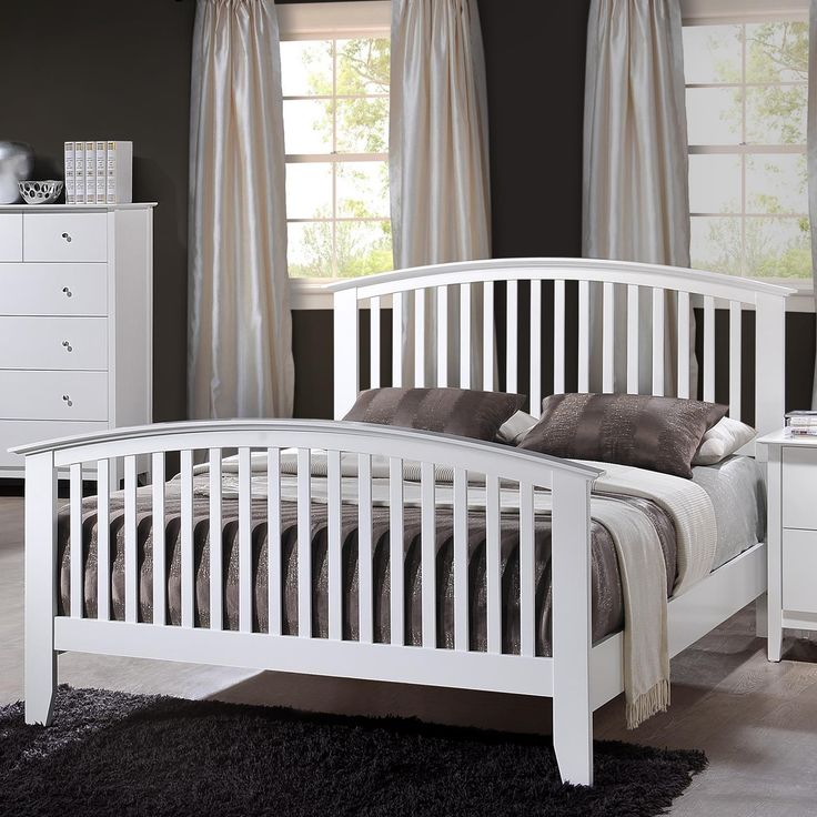 3Pc Bed- Twin & Full Size, Simple and stunning, the queen headboard and footboard bed delivers on both accounts. The simple slat design of the curved-top headboard and footboard combines wi