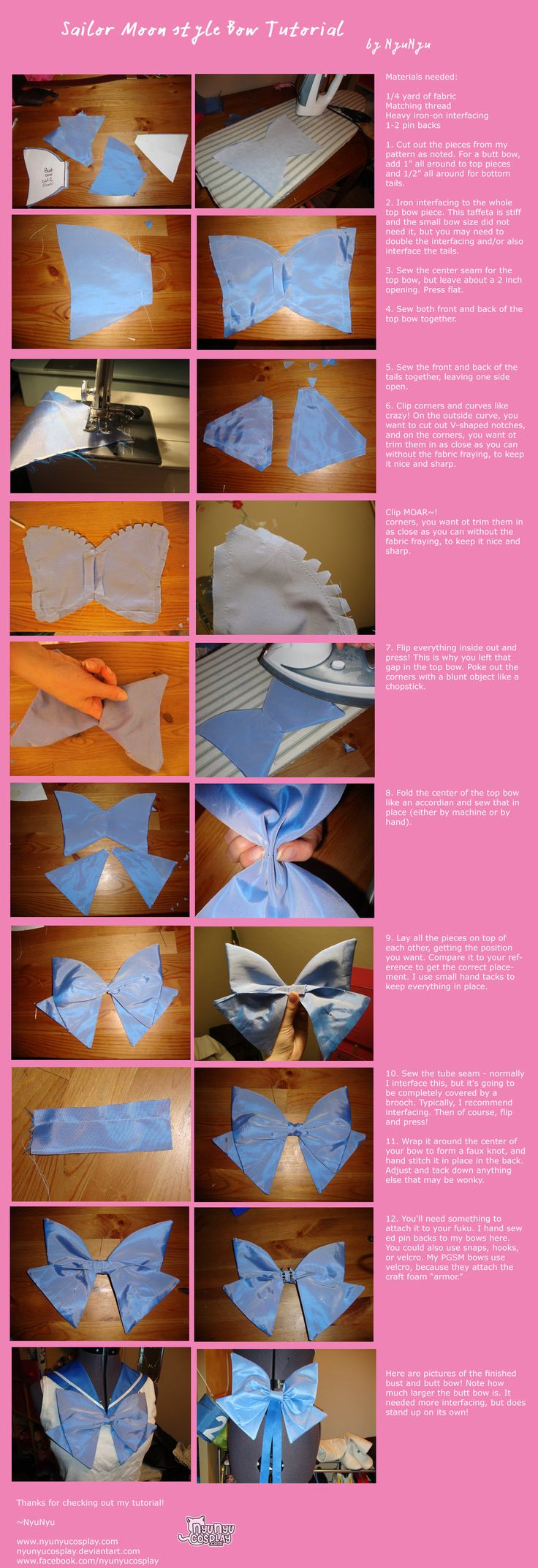 Sailor Moon style bow tutorial by nyunyucosplay.deviantart.com on @deviantART