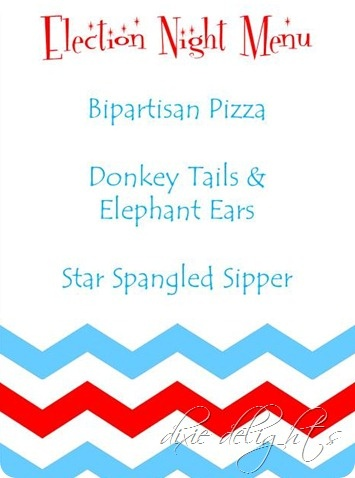 election night party ideas / free printable menu and cards