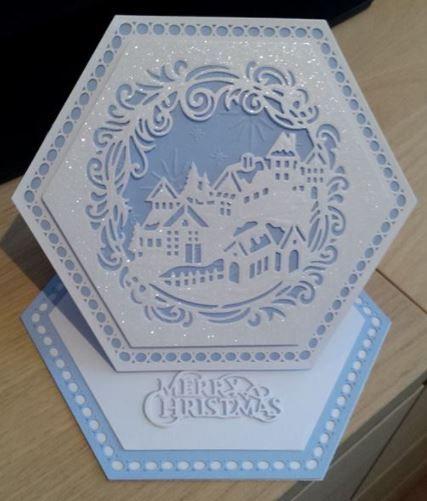 Crafters Companion Winter Wonderland die with Sue Wilson adorned hexagon dies. Beautiful card by Margaret Hart.