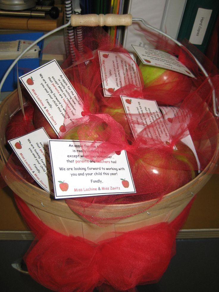 "A great Meet the Teacher Night Idea.  Each parent/guardian goes home with an apple and a little poem ""An apple for the teacher is really nothing new, except when you remember that parents are teachers too!"""