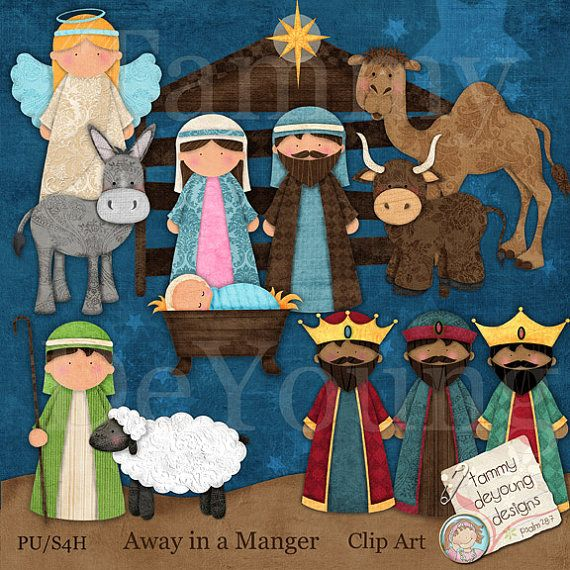 Cute nativity Christmas clip art with baby Jesus for all of your craft projects.  Perfect for Nativity crafts and Sunday School.