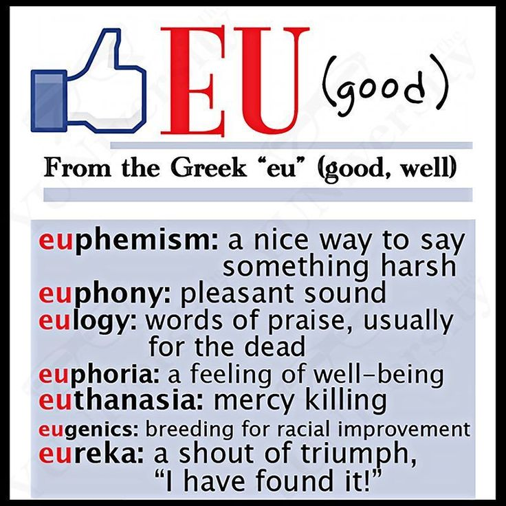 "The word root ""eu"" means 'good.' It can be found in such words as ""eulogy"" ""euphemism"" ""euphony"" and ""euphoria."" Unfortunately ""Europe"" doesn't mean 'good rope.' #wordroot #eu #europe #euphony #euphoria #greek #vocabulary #learnenglish #esl #efl #testpreparation #sat"