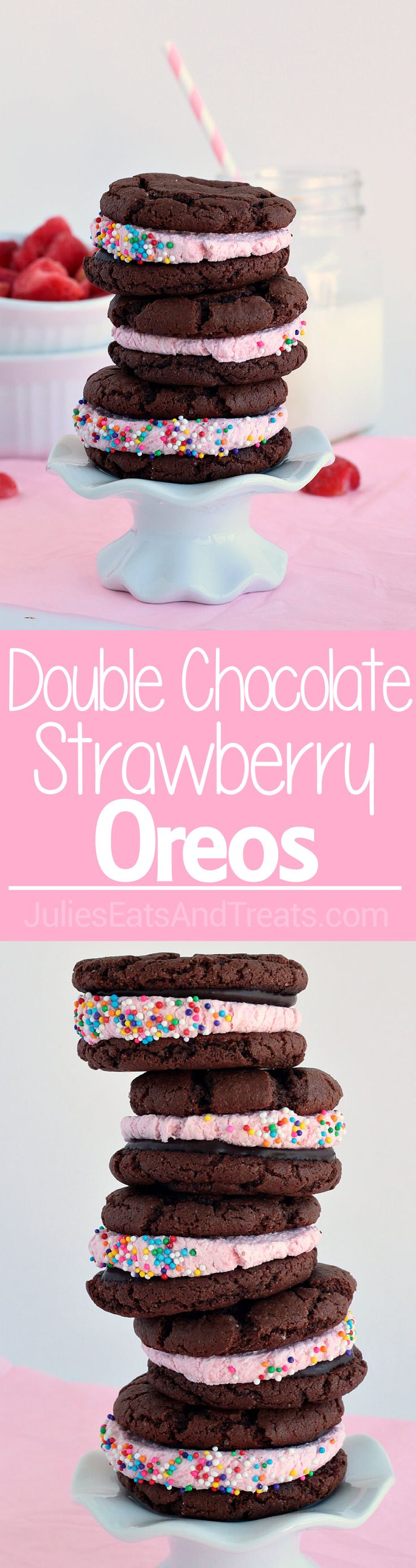 Double Chocolate Strawberry Oreos - super easy cake mix cookies filled with strawberry chocolate ganache and strawberry frosting. Perfect for Valentine's Day! via @julieseats