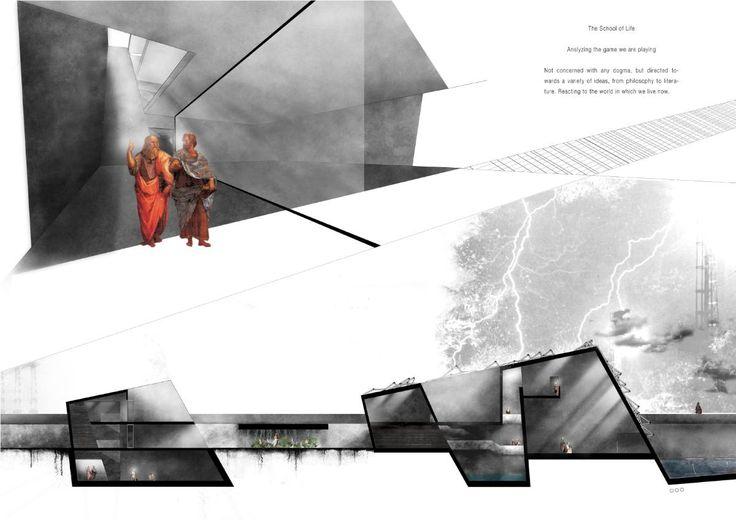 dark interior spaces, light shaft, against white space, colour palette…
