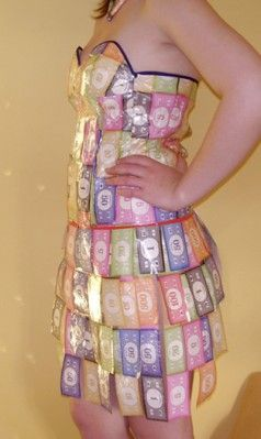 Anything but Clothes Monopoly (or real) Money Dress! Or make it with fake million dollar bills and look like a million bucks