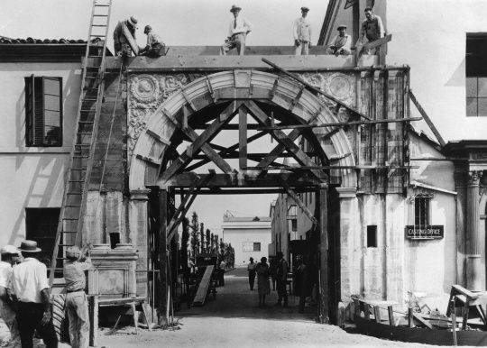The Bronson Gate at Paramount Pictures' studio in Los Angeles - one of the most recognizable Hollywood landmarks - is seen under construction in 1926.