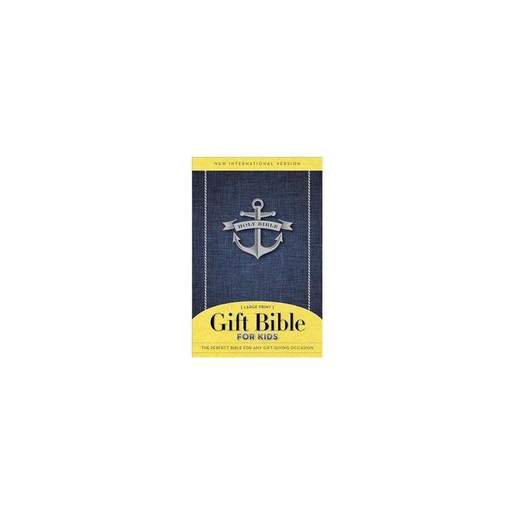 Holy Bible : Niv Gift Bible for Kids, Blue (Large Print) (Paperback)