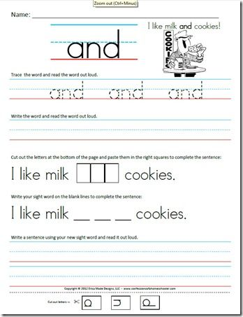 Kindergarten (Primer)  Kindergarten Sight Word Sentence worksheets.  Each one has the word along with a funny sentence. Students will practice tracing the word, reading the word, then writing it on their own.