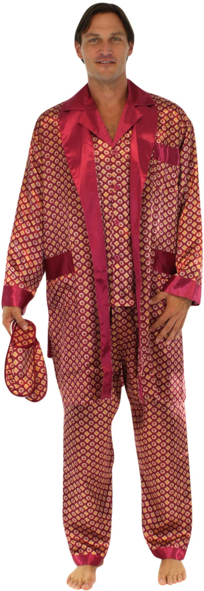 Pajama Heaven Men's Satin Pajama 5 Piece Gift Set -Robe, Boxer, Pajamas, and Slippers Grammie knows how  important it is to find time to relax.