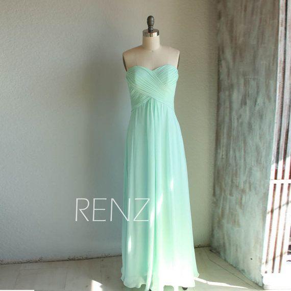 2015 Mint Bridesmaid Dress,Long Chiffon Prom Dress,Dusty Shale Sweetheart Strapless Formal Wedding Dress, Empire Backless Party Dress(B066A)
