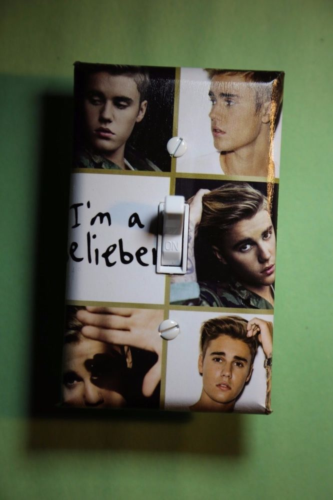 Justin Bieber Light Switch Cover Plate kids girls boys teen room home decor pop