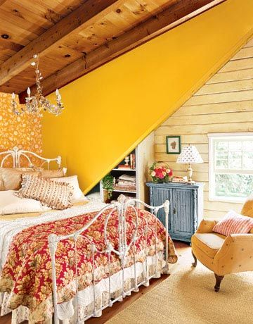 this bedroom: Decor, Ideas, Yellow Wall, Color, Attic Rooms, Attic Bedrooms Design, Beds Frames, Guest Rooms, Accent Wall