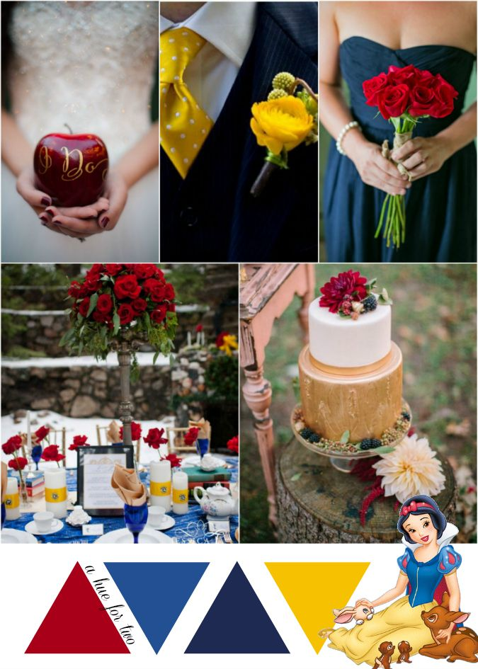 Snow White - Red Blue Yellow Wedding - Disney Wedding - A Hue For Two | www.ahuefortwo.com