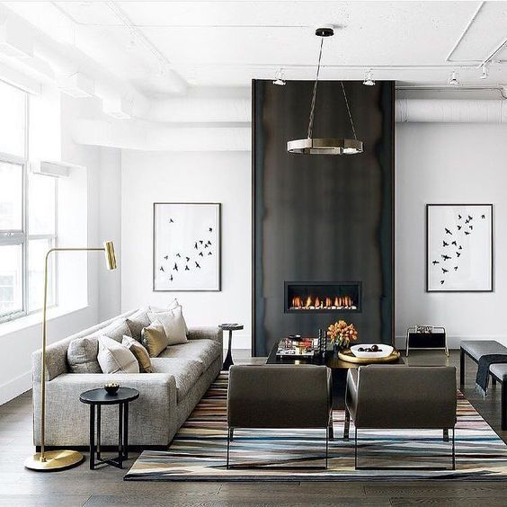 Loving This Modern Great Room With The Focal Fireplace Repost From