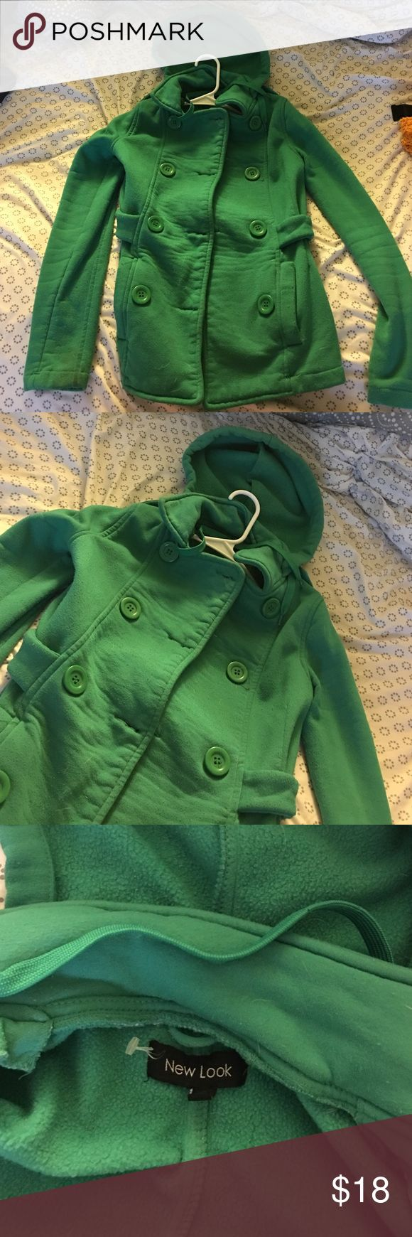Green trench coat with good Green trench coat style with big buttons and hood New Look Jackets & Coats Trench Coats