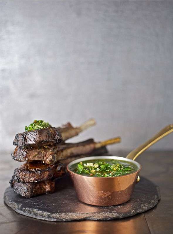 lamb w chimichurri sauce  .(Place parsley, olive oil, red wine vinegar, oregano, cumin, salt, garlic and hot pepper sauce into the container of a blender or food processor. Blend for about 10 seconds on medium speed, or until ingredients are evenly blended.)