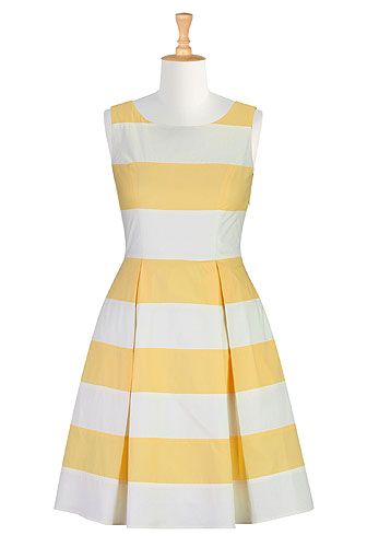 eShakti Graphic stripe poplin dress