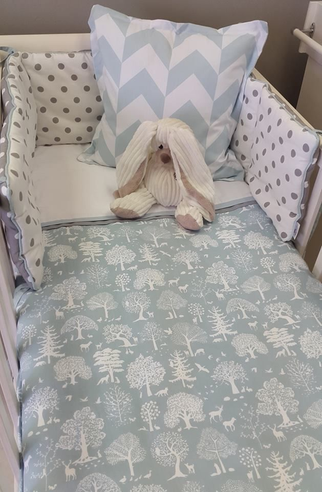 Our #LittleWoodlands fabrics are perfect in #DuckEgg, perfect for any #BabyBoy!   #BabyBedding #BabyLinen