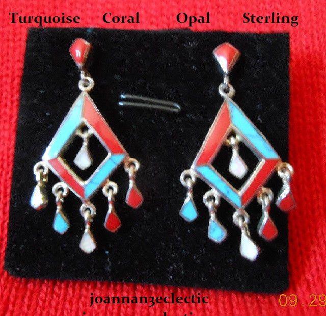 Earrings SOUTHWESTERN Chandelier Dangles Turquoise Coral Opal Inlay 925 Sterling #ChandelierDangle