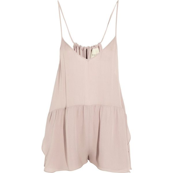 Mason by Michelle Mason Silk playsuit (£99) ❤ liked on Polyvore featuring jumpsuits, rompers, dresses, tops, playsuit, neutral, romper jumpsuit, silk romper, pink jumpsuit and pink romper