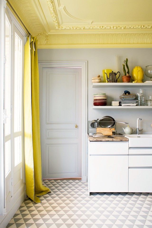 20 Breathtakingly Georgeous Ceiling Paint Colors and One That Isn't -- BM Cool Breeze CSP 665 for ceiling and white walls