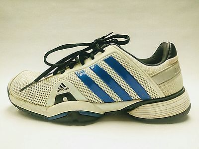 ADIDAS BOYS JR  BARRICADE  TENNIS SHOES- SNEAKERS #Q33791 WHITE  BLUE size 5.5