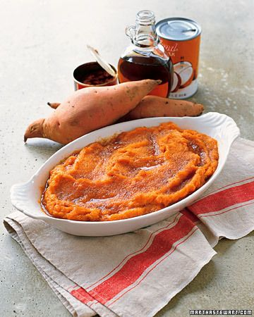 Quite possibly the world's most delicious mashed potatoes. Reduce butter and maple syrup as needed---still amazing. Mashed Red-Curry Sweet Potatoes - Martha Stewart Recipes
