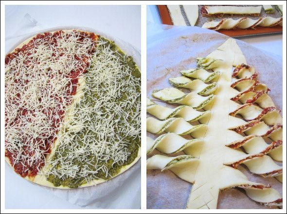 Puff pastry Christmas tree. Sweet or savoury. Suggests pesto, sun dried tomatoes, pine nuts or Nutella and speculoos.