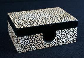 Egg Shell Mosaic - white shells on jewelry box