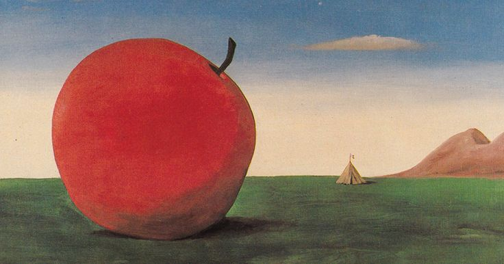 Apple (1974)  Kamil Lhoták (1912-1990) put his goals as a lawyer on hold due to Nazi-occupied Prague… instead he concentrated on painting nostalgic views of the world in everyday reality incorporating discarded machines, junk, and peripheral nooks, transforming them into dreaming creations and poetic images.