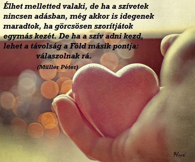 Müller Péter idézete a Szeretetkönyvből. - A kép forrása: Szívügyek # Facebook