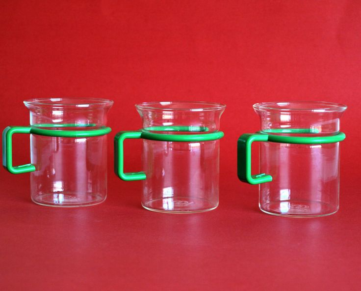 Bodum Glass Coffee Mugs with Green Handle - Vintage Pair of Le Pot Danish Coffee Cups - Picard Tea Cups - Made in Denmark by FunkyKoala on Etsy