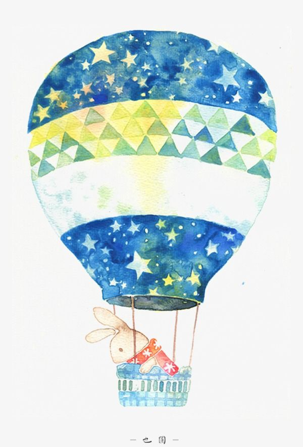 Small Fresh Hand Painted Watercolor Hot Air Balloon In 2020