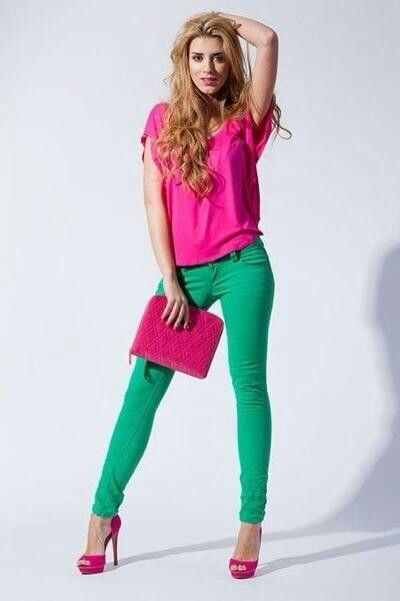 Pink heels, green jeans, and hot pink shirt