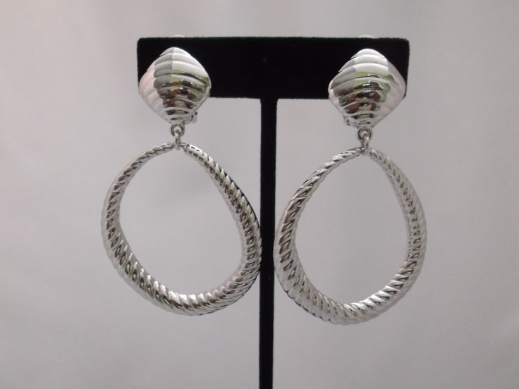 Clip On Large Silver Indentented Dangling Odd Shaped Hoop Earrings 2 3 4 19 99