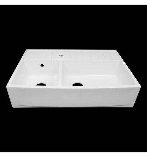 Double Country Fireclay Sink, White