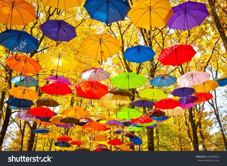 autumn umbrellas in the sky