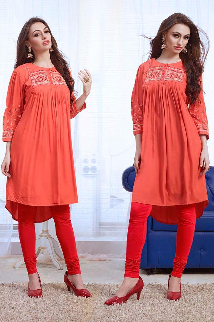 Simple Casual Wear Orange Kurti